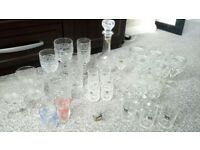 Lead crystal decanter and glasses collection