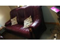 ****THREE SEATER WINE COLOUR LEATHER SOFA FOR FREE***