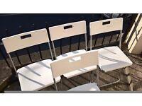 4 x white folding plasti chairs for £12