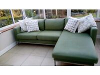 Karlstad IKEA 3 seater sofa with attached Chase Lounger in Green