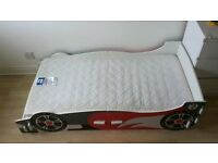 Child's Racing Car Wooden Single Bed with Mattress