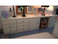 cream dressing table and double chests of drawers set for 75 with mirror