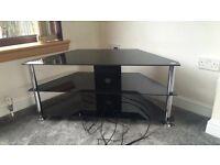 TV unit for sale, black glass, 3 shelves, excellent condition