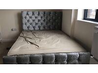 CRUSHED VELVET BED #MATRESS #DOUBLE BED #SLIVER