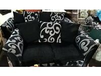 TWO TWO SEATER SOFAS IN BLACK AND GREY FABRIC