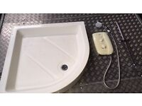Electric shower & shower tray for sale