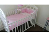 Mamas and Papas AMELIA Baby Cot Set, Brand New Mattress, Bedding & Mobile