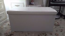 Cream faux leather look ottoman