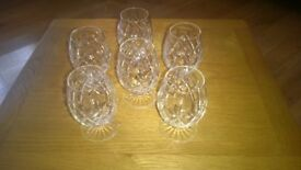 Lead Crystal Brandy Glasses x 6