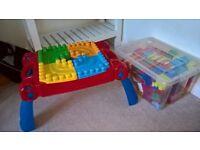 Mega blocks table and bricks