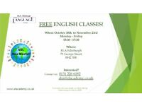 Free English Lessons every weekday from October 30th to November 23rd at ELA-Edinburgh