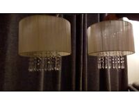 Lampshades; pair very fashionable cream shades with clear crystals droplets.