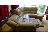 Large leather recliner corner suite with footstool, good quality, excellent unmarked condition