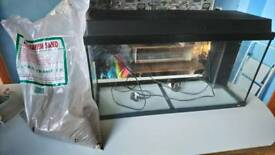 """32"""" fish tank with filters, light and heater"""