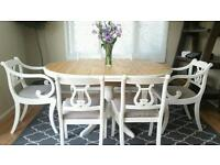 Solid pine extending table and 6 vintage chairs shabby chic