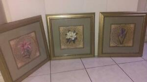 Set of 3 Paintings Floral Square Mosaic Grec Art  B153 FROM Ren-Wil inc MONTREAL Collector gallery