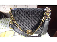 HAND BAG WITH SHOULDER STRAP WITH BRASS CHAINS LOVERLY SOFT MATERIAL