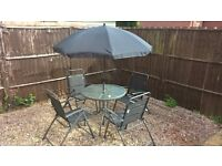 Garden Furniture Set - Includes 4 chairs, table and brolley