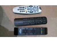 Remote controls virgin. TV Sharp, sky box