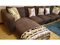 IKEA NORSBORG LARGE GREY CORNER SOFA WITH CHAISE LONGUE CURRENTLY ASSEMBLED WITHOUT CORNER