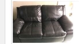 Black leather sofa settee from DFS