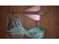 Anchor with shackle and rope, new