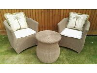 Delux Rattan Garden Set, 2 Chairs, Table inc Cushions