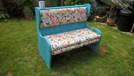 Shabby chic high back bench / pew
