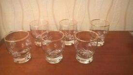 Vintage gold-rimmed etched glasses, set of six, immaculate condition