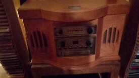 Antique stereo cd record deck tape and radio