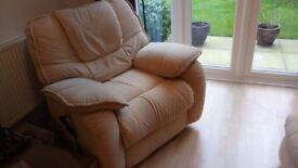 Cream Fabric Reclining armchair FOR SALE