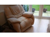 Cream Fabric Reclining armchair FOR SALE