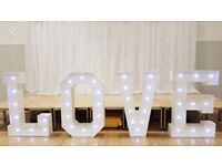 Light up letters love £90 hire free set up beautiful