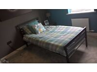 Single Metal Frame bed with Mattress - Excellent condition - Black & Chrome