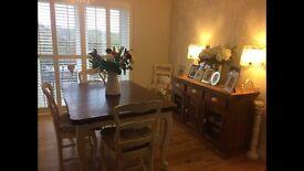Fabulous original Louis 1V dining table, 6 chairs & dresser. Farrow & Ball finish.