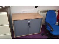 BEECH TAMBOUR CUPBOARD ROLL DOORS STORAGE LOCKING HOME-OFFICE FURNITURE