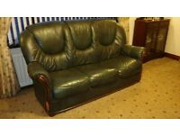 Leather 3 seater sofa, 1 recliner, 2 armchairs and footstool