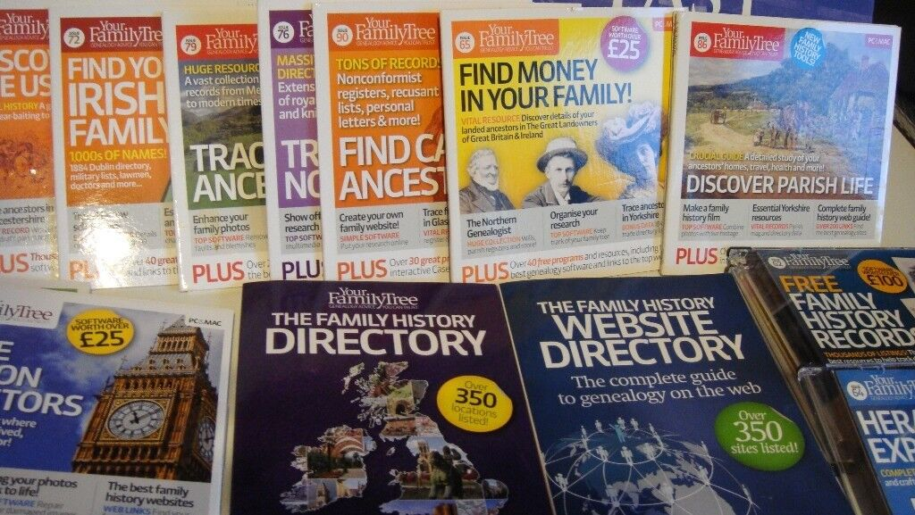 Large Quantity Of Genealogy Family Tree Magazines DVD S Books Hobby