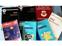 Seven Key Stage 3 (KS3) Science, English and Mathematics Textbooks, Revision & Practice Books