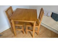 lovely 2 seater table and chairs ideal for small space or craft table