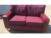 Red Cloth and Leather 2 Seater Sofa
