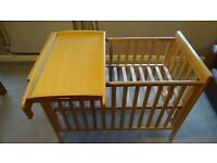 mamas and papas cot with changing station