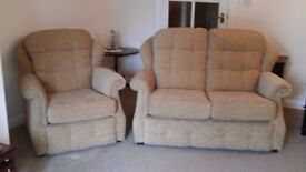 G Plan Oakland 2 Seater Small Sofa and Chair. Beige.