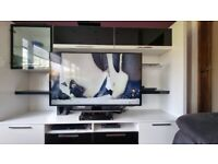 Tv Stand media unit console white shelved