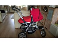 £35 ono JANE MATRIX PRO SLALOM PRAM! red with reversible covers also can be used as car seat.