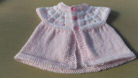Baby's Pink & White Sleeveless Cardigan 0-3 months.