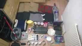 Job lot large bundle car boot items kitchenware coushins vacuum kettle toys portable dvd player