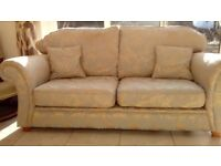 Bespoke 3 seater sofa in Duck Egg blue and gold complete with scatter cushions.