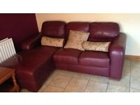 Leather corner sofa and recliner