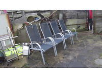 4 GARDEN CHAIRS NICE CONDITION ALLIMINUM NICE LIGHT WEIGHT
